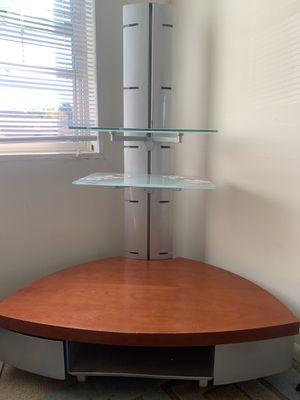 3 tier TV or computer stand with glass shelves for Sale in Laurel, MD
