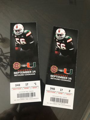 Miami Hurricanes tickets vs Bethune Cookman for Sale in Pembroke Pines, FL