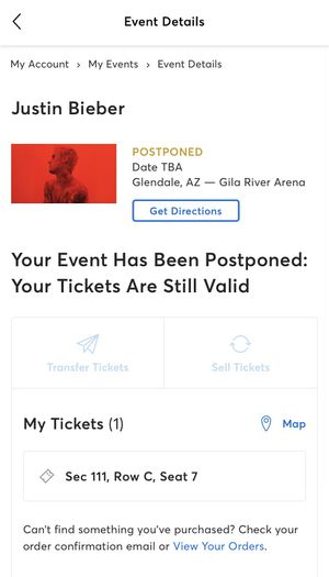Justin Bieber Concert Ticket!!! for Sale in Queen Creek, AZ