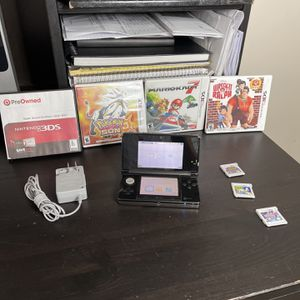 NINTENDO 3DS Cosmo Black W 7 Games & Charger Sonic Lost World Pokémon Sun Pokémon Y Wreck-It Ralph Super Smash Brothers Mario 7 Mario & Sonic at th for Sale in Fort Lauderdale, FL
