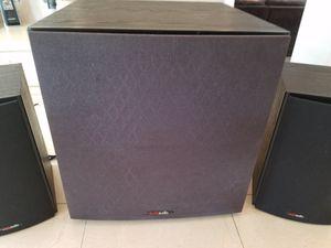Polk Audio Powered Subwoofer PSW 108 and Pair of Polk Audio T15 100 watt Speakers for Sale in Mesa, AZ