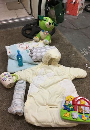 0-6mo winter sack that has a hole for seat belt in car seat, muslin blanket, new dad coffee cup, crib sheet with clouds, Leap frog read with me scout for Sale in Las Vegas, NV