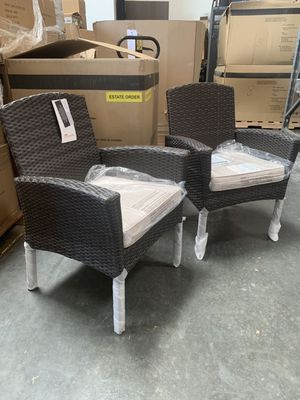 New in box SET OF 2 Mission Hills Santa Fe Dining Brown Chair Outdoor Wicker Patio Furniture With Tan Sunbrella material Cushion $400 at Costco seat for Sale in Covina, CA