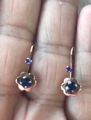New. 14k yellow gold and blue lab sapphire earrings. Solid gold. Great gift for the woman in your life for Christmas or birthday. As always, I br for Sale in Fullerton, CA