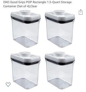 OXO Good Grips POP Rectangle 1.5-Quart Storage Container (Set of 4),Clear for Sale in Miami Beach, FL