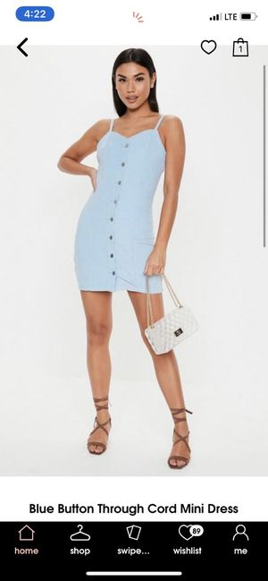 Blue button through corduroy mini dress for Sale in ROWLAND HGHTS, CA