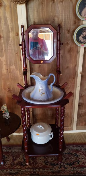 Wash stand with bowl and pitcher set for Sale in Farmville, VA