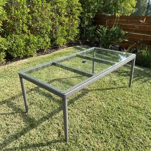 "73"" Potterybarn Glass-Top Outdoor Dining Table for Sale in San Diego, CA"