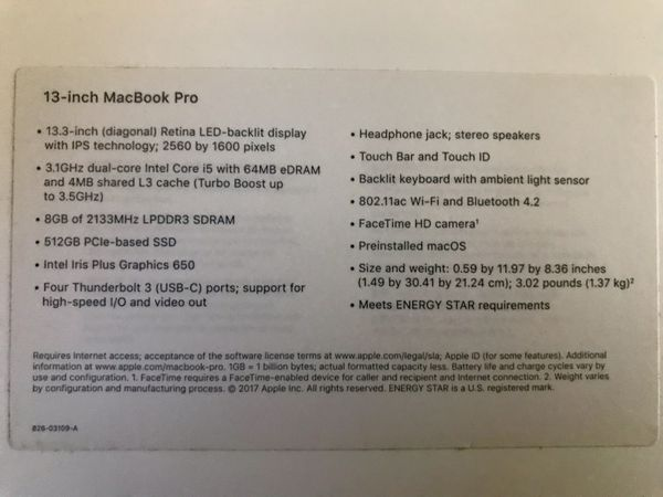 "2017 MacBook Pro, 13.3"" 512GB, Touchbar"