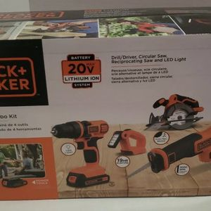 Black + Decker 20V MAX Cordless Combo Kit (4-Tool) with (2) Batteries & Charger! for Sale in Woodbridge, VA