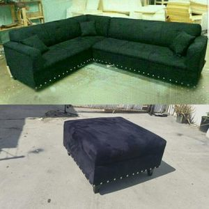 NEW 7X9FT BLACK MICROFIBER SECTIONAL WITH 34X34 OTTOMAN COUCHES for Sale in Chula Vista, CA