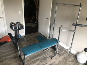 Gym bench press squat rack multi use station for Sale in Riverside, CA