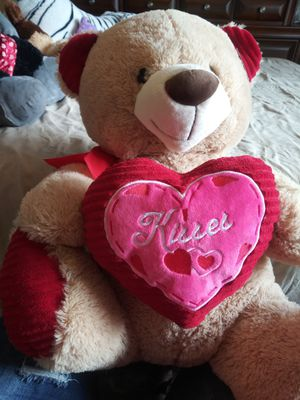 Large Bear Stuffed Animal with heart kisses for Sale in Cape Coral, FL