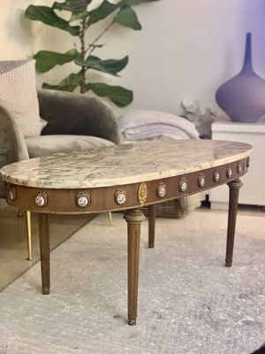 Gorgeous antique vintage oval marble top coffee table for Sale in HALNDLE BCH, FL
