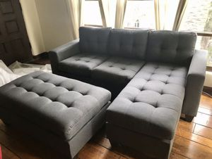 Brand New Grey Linen Sectional Sofa Couch + Ottoman for Sale in Silver Spring, MD