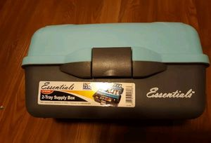 Essentials 2 tray supply box blue and grey Tackle box. arts and crafts for Sale in Grand Rapids, MI