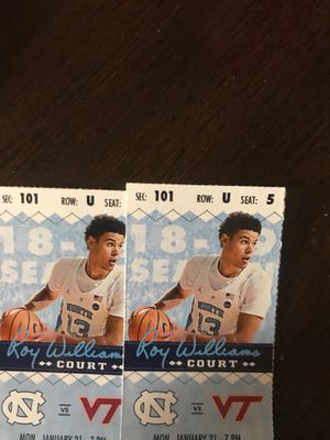 2 tickets to unc vs VT 1/21/19 for Sale in Cary, NC