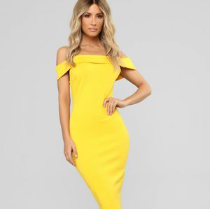 Yellow off the shoulder dress for Sale in Charlotte, NC