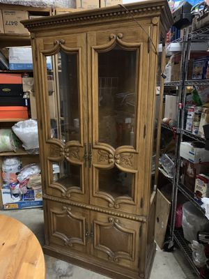 Antique wood china cabinet for Sale in Portland, OR