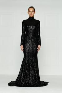 High Neck Pattern Black Sequin Evening Dress for Sale in Norfolk, VA
