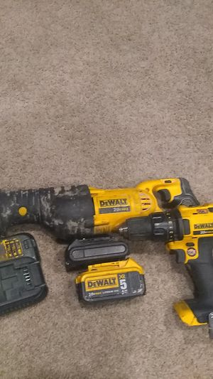 DeWalt Sawzaw and Hammer Drill 2 tool, 2 battery combo plus Charger for Sale in Salt Lake City, UT