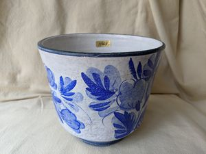 VTG Hand Painted Italy Floral Ceramic Pottery Blue & White Flower Pot Planter for Sale in Alpharetta, GA