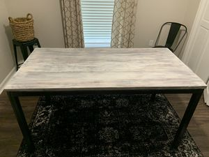 White-washed, solid wood + iron Nadeau dining table / desk for Sale in Baton Rouge, LA