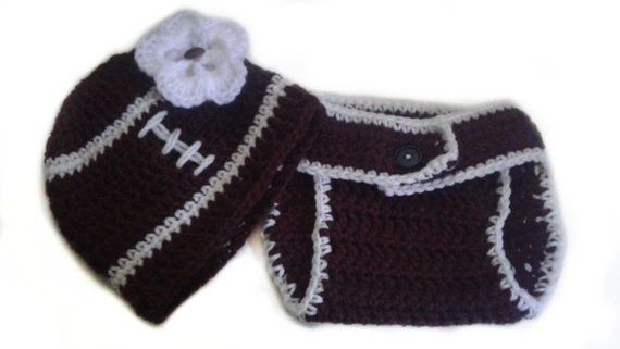 Custom Personalized Baby Girl White Flower Button Football Sports Fan Photo Prop Adjustable Diaper Cover and Beanie Hat Set