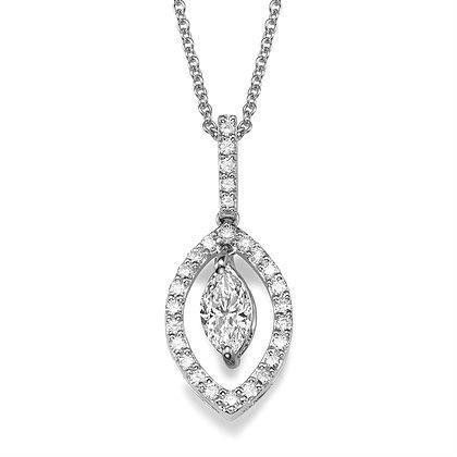 1.40 Carats Marquise And Round Cut Diamonds Necklace Pendant 14K Gold