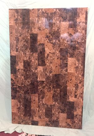 """Brown Faux Marble Rectangular Table Black legs 48"""" x 30"""" Kitchen Dining Room for Sale in Madison, NJ"""