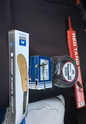 Hoof knife Right . Heller Rasps .Two sets of horseshoe.One box of horse nails with 250Everything new never used $80 for everything or best offer for Sale in San Jose, CA