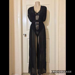 *Black Mesh See-Through Long Robe •M or L for Sale in Carrollton, TX