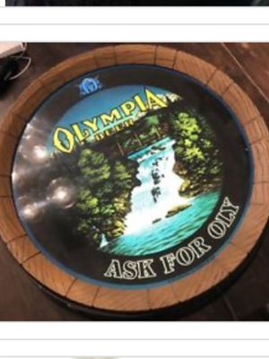 Olympia beer barrel top bar light vintage with rotating motion waterfall for Sale for sale  Slatington, PA