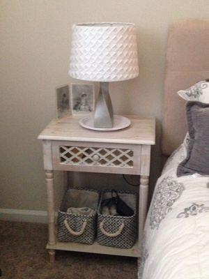 Mirror/lattice Small night stand, lamp, and baskets for Sale in Alpharetta, GA