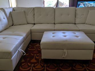 White Leather Storage Sectional and Ottoman *BRAND NEW* for Sale in Columbia,  MD