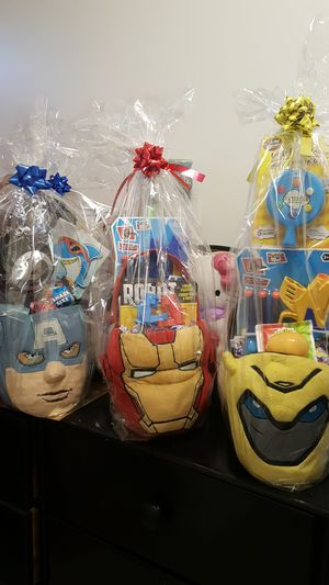 Super hero transformers bubble bee Easter basket Iorn man captain America for Sale in La Puente, CA