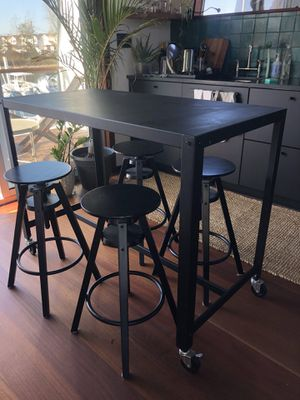 CB2 go cart table / IKEA dalfred bar stools for Sale in New York, NY