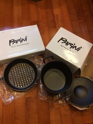 Cast iron. Parini Grill skillet and 4 qt Dutch oven. NEW for Sale in Rockville, MD