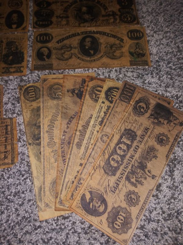 22 Confederate bills
