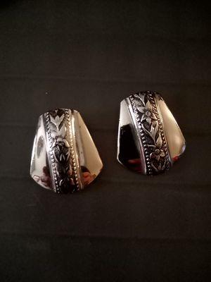 Whiting & Davis Co Silver Flower Clip On Earrings for Sale in San Antonio, TX