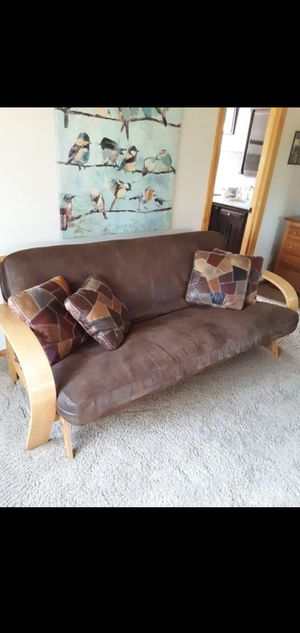 Brown Leather covered futon for Sale in Phoenix, AZ