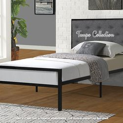 NEW, TWIN Size Metal Platform Bed (Fully Slated NO BOX SPRING REQUIRED) with Linen Fabric Headboard , SKU# 7577T for Sale in Midway City,  CA