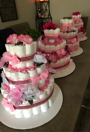 Handmade diaper cakes for GIRL each one is beautiful and different! for Sale in Pompano Beach, FL