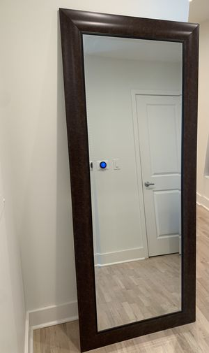 Tall Wall Mirror with Brown Frame for Sale in Atlanta, GA