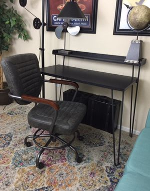 Espresso Writing Desk & Gray industrial Rustic office chair set for Sale in San Diego, CA