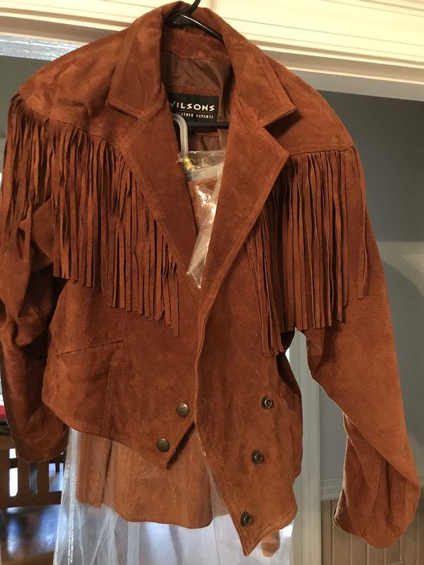 Woman suede fringe coat and shirt size large