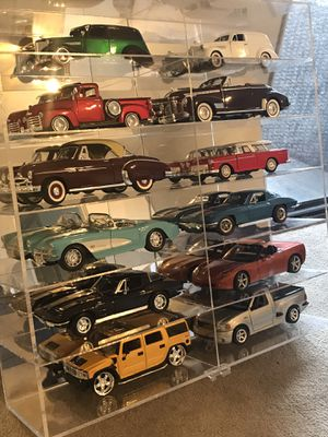 Diecast Car Collection-Different Scales 1/18-1/24 With Mirror wall hung case for Sale in Long Beach, CA
