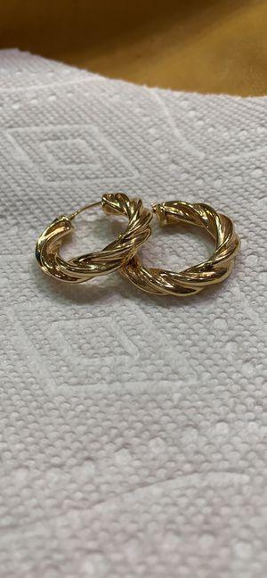 Sterling Silver hoop earrings gold plated for Sale in Taylorsville, UT