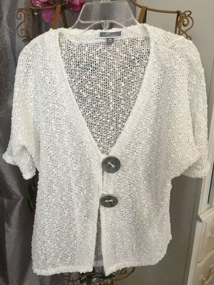Sheer knit jacket size large white with decorative buttons great for over sleeveless shirts or dresses pristine for Sale in Northfield, OH