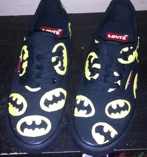 Hand painted Batman shoes (Levi's) ((BACK TO SCHOOL SPECIAL BUY 2GET 1FREE)) for Sale in West Palm Beach, FL